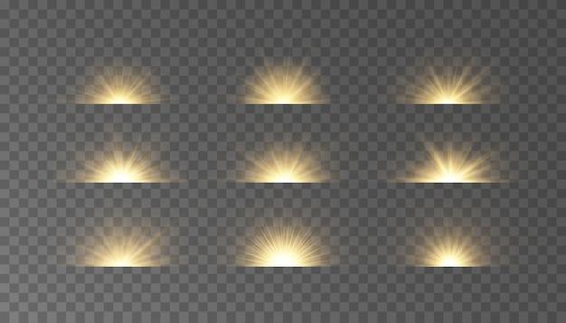 Conjunto de reflexos horizontais de luz das estrelas, raios com efeito bokeh