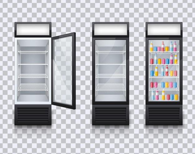 Conjunto de refrigeradores vazios de bebidas