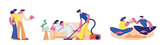Conjunto de relações amorosas de pessoas felizes e bebê à espera. personagens masculinos e femininos passam tempo juntos mulher grávida relaxa no sofá, homem limpando a casa. casal bebe chá. ilustração em vetor de desenho animado