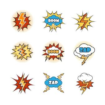 Conjunto de relâmpagos e explosão de desenhos animados