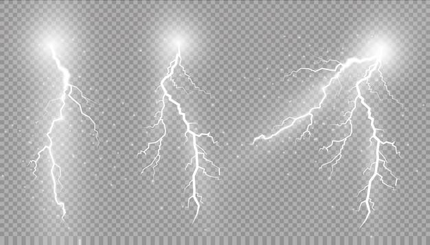Conjunto de relâmpagos. efeitos de iluminação mágicos e brilhantes.