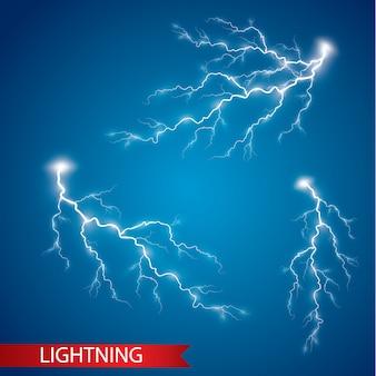 Conjunto de relâmpagos. efeitos de luz mágicos e brilhantes. ilustração vetorial