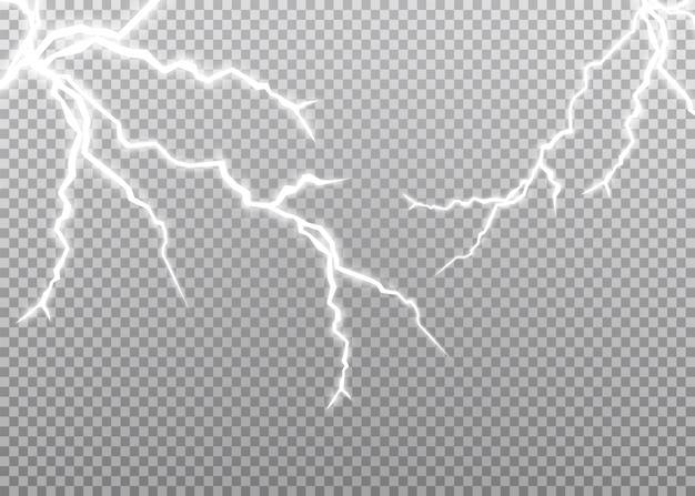 Conjunto de relâmpagos. tempestade de trovões e relâmpagos. efeitos de iluminação mágicos e brilhantes. ilustração
