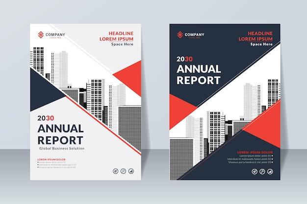 Conjunto de relatório anual, modelo de capa de negócios