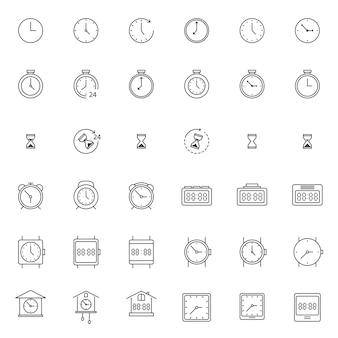Conjunto de relógio e relógio ícone