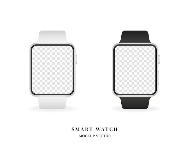 Conjunto de relógio inteligente. relógio inteligente em branco isolado no fundo branco.