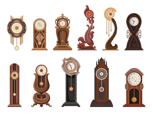 Conjunto de relógios antigos. relógio tradicional de chão ou mesa com decoração em madeira entalhada