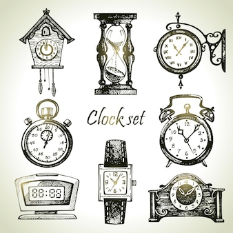 Conjunto de relógios e relógios desenhado à mão