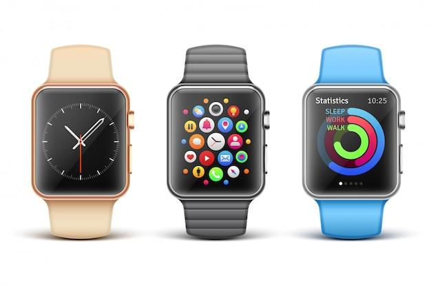 Conjunto de relógios eletrônicos inteligentes da apple
