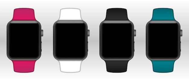 Conjunto de relógios inteligentes com diferentes pulseiras e tela em branco