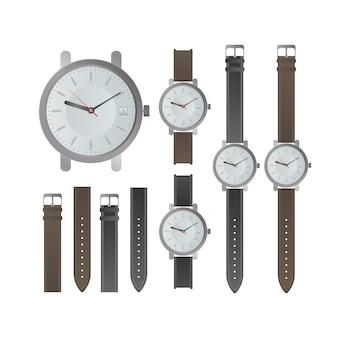 Conjunto de relógios masculinos clássicos. relógio de pulso com pulseira de couro. isolado. vetor realista.