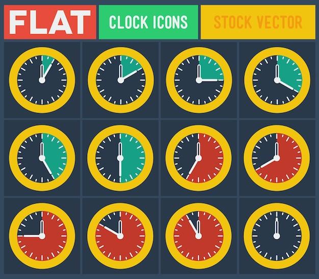 Conjunto de relógios planos vintage