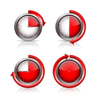 Conjunto de relógios temporizadores. ilustração