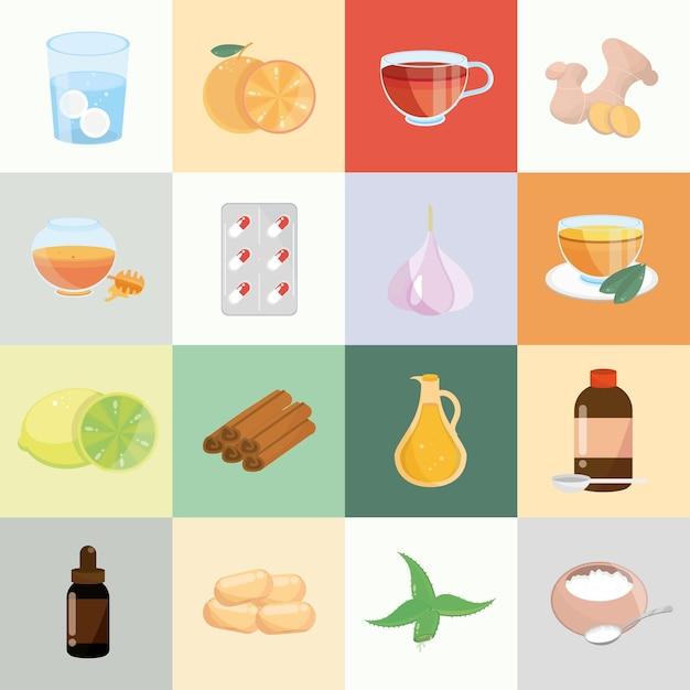 Conjunto de remédios caseiros