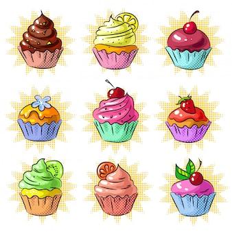 Conjunto de remendo ou adesivo de cupcake saboroso pop art