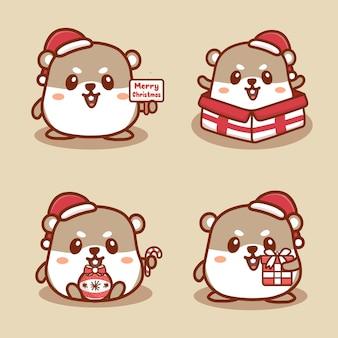 Conjunto de rena fofa comemorando o natal. patinação no gelo, segurando o presente e o texto de feliz natal. vetor desenho kawaii