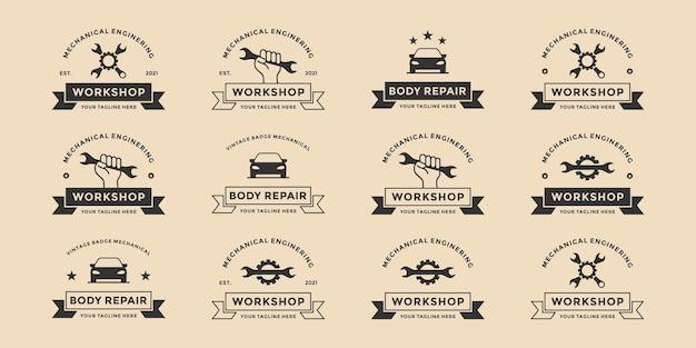 Conjunto de reparação de automóveis, oficina, reparação de carroceria, design de logotipo de engenheiro mecânico emblema vintage