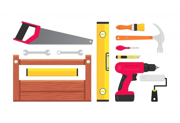 Conjunto de reparação de ferramentas de construção.