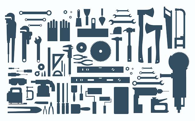 Conjunto de reparação e construção de ferramentas manuais de trabalho