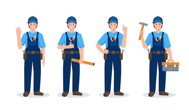 Conjunto de reparadores ou operário em diferentes poses e gestos uniformizados com ferramentas de trabalho