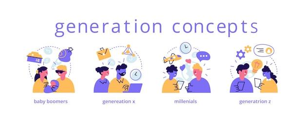 Conjunto de representações de várias gerações. baby boomers, millennials, tipos de geração x, z.