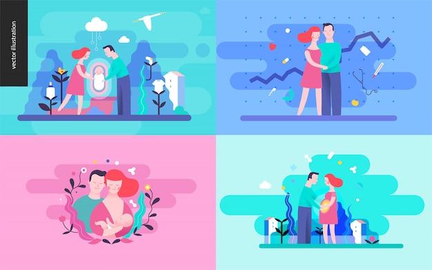 Conjunto de reprodução de illustrtaions vector
