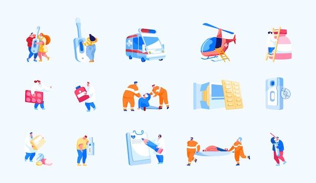 Conjunto de resgate aéreo e serviço médico de emergência em terra