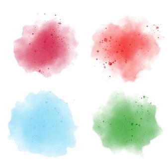 Conjunto de respingo aquarela colorida