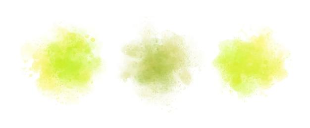 Conjunto de respingos de aquarela amarela abstrata Vetor Premium