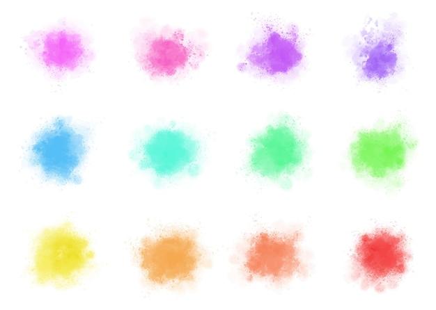 Conjunto de respingos de aquarela colorida abstrata