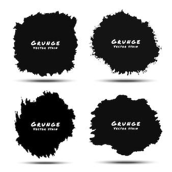 Conjunto de respingos de aquarela preta e grunge