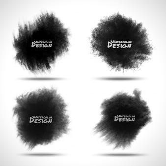 Conjunto de respingos de aquarela preto. ilustração vetorial