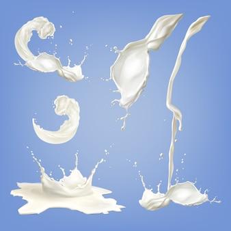 Conjunto de respingos de leite branco realista