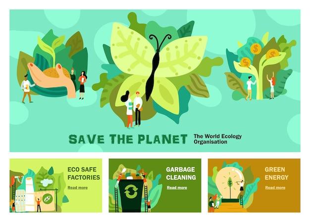 Conjunto de restauração ambiental de banners horizontais com lixo de energia verde