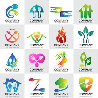 Conjunto de restaurante e logotipos de cozinha