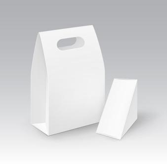 Conjunto de retângulo de papelão em branco branco retângulo levar embora alça lancheira embalagens para sanduíches, alimentos.