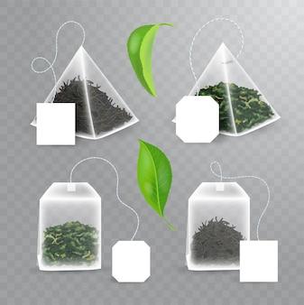 Conjunto de retângulo e saquinho de chá em forma piramidal com chá preto e verde dentro.