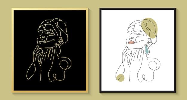 Conjunto de retrato de arte de rosto mínimo de mulher desenhada à mão