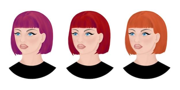 Conjunto de retrato de cabeças femininas com cabelo curto e franja