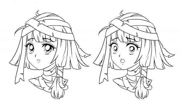 Conjunto de retrato de menina manga bonito múmia. duas expressões diferentes. estilo anime retrô mão desenhada ilustração de contorno. isolado no fundo branco