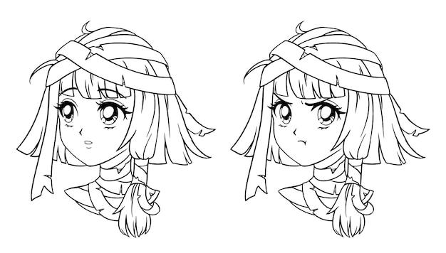 Conjunto de retrato de menina múmia de mangá bonito. duas expressões diferentes.