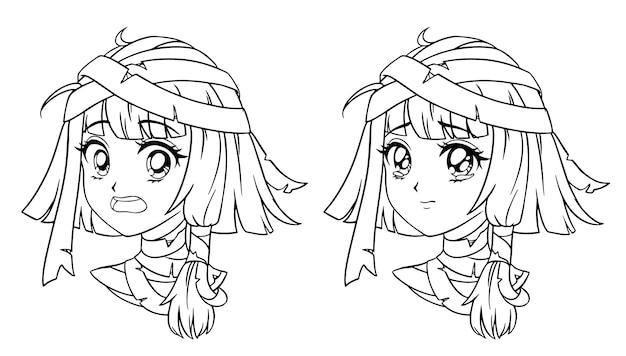 Conjunto de retrato de menina múmia de mangá fofo. duas expressões diferentes.