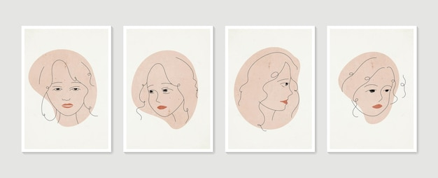 Conjunto de retrato de mulher em linha de pôsteres contemporâneos estéticos abstratos e minimalistas desenhados à mão
