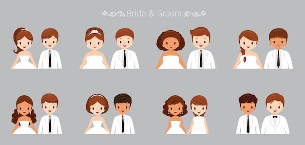 Conjunto de retrato de noiva e noivo em roupas de casamento