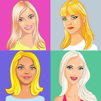 Conjunto de retrato de uma jovem atraente com longos cabelos loiros