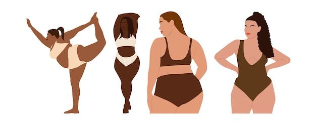 Conjunto de retratos abstratos de mulheres internacionais plus size em roupas íntimas.