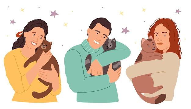 Conjunto de retratos de adoráveis donos de animais de estimação e fofos animais domésticos