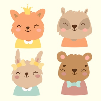 Conjunto de retratos de animais fofos