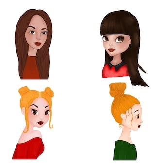 Conjunto de retratos de desenhos animados de meninas em aquarela e técnica de lápis