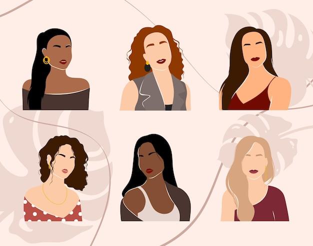 Conjunto de retratos de mulher abstratos com silhuetas femininas que as meninas enfrentam com um corte de cabelo estiloso